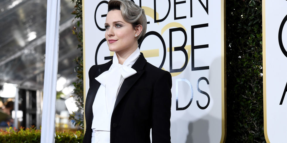 Evan Rachel Wood Pays Homage to David Bowie & Marlene Deitrich at the Globes